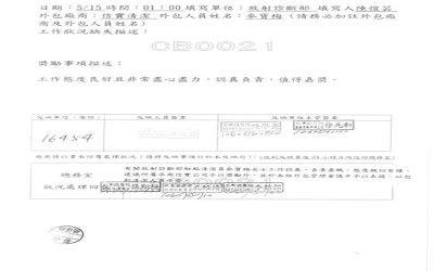 三軍總醫院放射診斷部於106年5月15日開立優良工作反應單